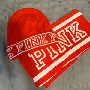Victoria's Secret Pink Hat and Scarf set